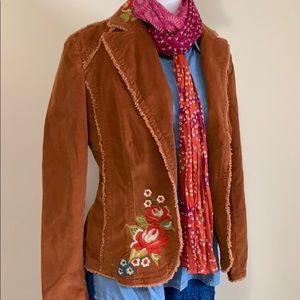 Limit embroidered corduroy boho jacket.